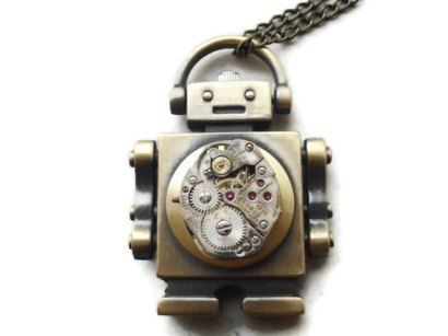 steampunk robot necklace